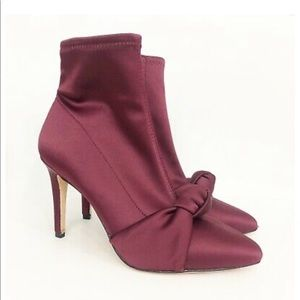 Antonio Melanie Merlot Satin Knotted Booties